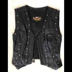 Harley Davidson Leather Studded Vest - S